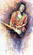 Watercolor Framed Prints - Jimi Hendrix 09 Framed Print by Yuriy  Shevchuk