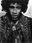 Haze Drawings Framed Prints - Jimi Hendrix 1 Framed Print by Scott Parker