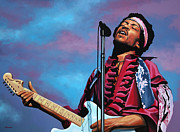Fender Stratocaster Framed Prints - Jimi Hendrix 2 Framed Print by Paul  Meijering
