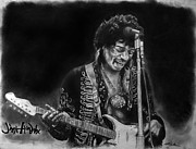 Haze Drawings Framed Prints - Jimi Hendrix 2 Framed Print by Scott Parker