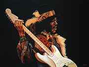 Stratocaster Framed Prints - Jimi Hendrix 3 Framed Print by Paul  Meijering