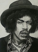 Hall Of Fame Pastels Prints - Jimi Hendrix Print by Aaron Balderas
