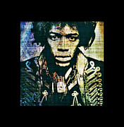 Rock N Roll Digital Art - Jimi Hendrix by Absinthe Art  By Michelle Scott