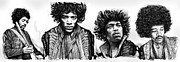 Exposure Drawings Framed Prints - Jimi Hendrix art drawing sketch poster  Framed Print by Kim Wang