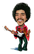 Caricatures Paintings - Jimi Hendrix by Art