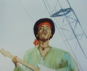 Iconic Paintings - Jimi Hendrix at Woodstock by Martin Howard