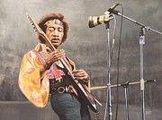 Rock Star Painting Originals - Jimi Hendrix by Barry J Davis