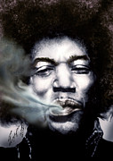 Rock Guitar Player Posters - Jimi Hendrix-Burning Lights-2 Poster by Reggie Duffie