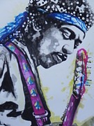 Musician Greeting Cards Paintings - Jimi Hendrix by Chrisann Ellis