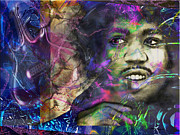 Songwriter Mixed Media Originals - Jimi Hendrix by Christine Mayfield