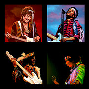 Singer Painting Posters - Jimi Hendrix Collection Poster by Paul  Meijering