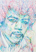 Pens Drawings Posters - JIMI HENDRIX - colored pens portrait Poster by Fabrizio Cassetta