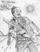 Guitar Drawings - Jimi Hendrix by Dan Twyman