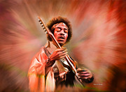 Jimmy Hendrix Paintings - Jimi Hendrix Electrifying Guitar Play by Angela A Stanton