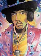 Musicians Drawings Originals - Jimi Hendrix Eyes by Joshua Morton