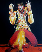 Jimi Hendrix - Fire Print by Tom Carlton