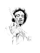 Jimi Hendrix Drawings - Jimi Hendrix by Gordon Van Dusen