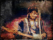 Rock N Roll Digital Art - Jimi Hendrix - Guitar by Absinthe Art  By Michelle Scott