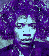 Color Purple Digital Art Framed Prints - JIMI HENDRIX in PURPLE Framed Print by Daniel Hagerman