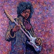 Rock Portraits Mixed Media Originals - Jimi Hendrix by John Cruse Knotts