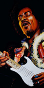 Rock Music Painting Originals - Jimi Hendrix by Marlon Huynh