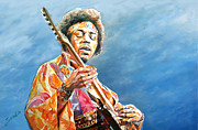 Strat Painting Originals - Jimi Hendrix by Merv Scoble