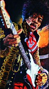 Jimi Hendrix Painting Originals - Jimi Hendrix on Guitar by Shirl Theis