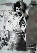 Concert Painting Originals - Jimi Hendrix  on Plexiglass by Barry Boom