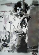 Jimi Hendrix  On Plexiglass Print by Barry Boom