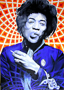 Jimi Hendrix Painting Prints - Jimi hendrix Orange and Blue Print by Joshua Morton