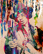 Rock N Roll Paintings - Jimi Hendrix Original by Ryan Rabbass