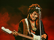 Songwriter  Paintings - Jimi Hendrix by Paul  Meijering
