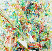 Singer Paintings - Jimi Hendrix Playing The Guitar Portrait.1 by Fabrizio Cassetta