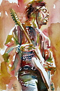 Singer  Paintings - Jimi Hendrix Playing The Guitar Portrait.3 by Fabrizio Cassetta
