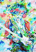 Singer Songwriter Paintings - JIMI HENDRIX playing the guitar.2 -watercolor portrait by Fabrizio Cassetta