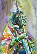 Experience Posters - JIMI HENDRIX playing the guitar.5 -watercolor portrait Poster by Fabrizio Cassetta