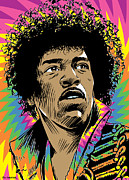 Stratocaster Framed Prints - Jimi Hendrix Pop Art Framed Print by Jim Zahniser