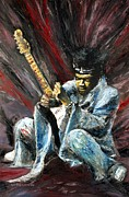 Mike Underwood Metal Prints - Jimi Hendrix Purple Haze Metal Print by Mike Underwood
