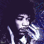 Yoko Metal Prints - Jimi Hendrix Purple Haze  Metal Print by Tony Rubino