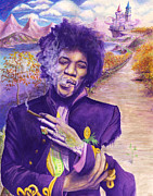 Dirt Road Paintings - Jimi Hendrix - Risen by Raymond L Warfield jr