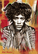 Exposure Drawings Framed Prints - Jimi Hendrix stylised pop art drawing potrait poster Framed Print by Kim Wang