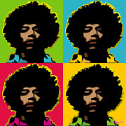 Male Portraits Digital Art Prints - Jimi Hendrix Print by Walter Neal