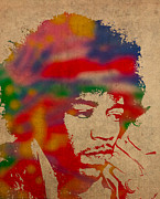 Singer Mixed Media Posters - Jimi Hendrix Watercolor Portrait on Worn Distressed Canvas Poster by Design Turnpike