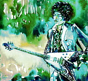 Singer Songwriter Paintings - JIMI HENDRIX with GUITAR by Fabrizio Cassetta