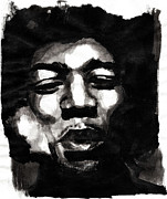 Inkwash Framed Prints - Jimi Framed Print by Molly Picklesimer