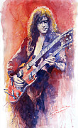 Watercolor  Paintings - Jimmi Page by Yuriy Shevchuk
