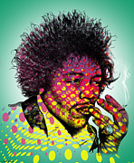 Celebrities Digital Art - Jimmie Hendrix  by Mark Ashkenazi
