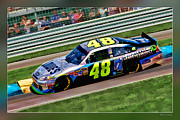 Nascar Digital Art Prints - Jimmie Johnson Print by Blake Richards