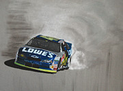 Road Mixed Media Metal Prints - Jimmie Johnson-Victory burnout Metal Print by Paul Kuras