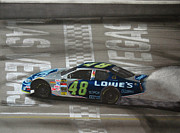 Tire Mixed Media Originals - Jimmie Johnson Wins at Las Vegas by Paul Kuras